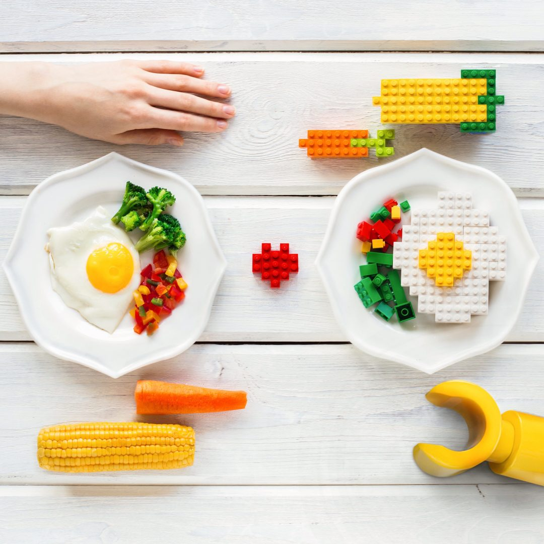 human eating a lego breakfast